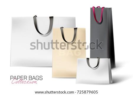 Realista rosa papel bolsa de compras isolado branco Foto stock © olehsvetiukha