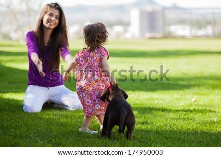 gyönyörű · fiatal · család · idő · együtt · kint - stock fotó © deandrobot