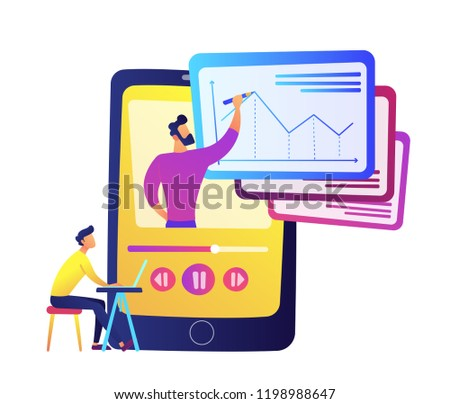 student watching recorded lesson on huge smartphone with teacher drawing chart vector illustration stock photo © rastudio