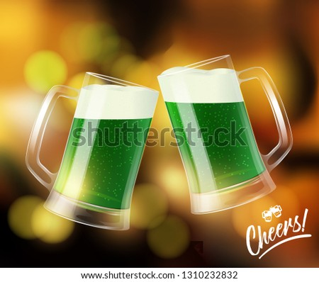 Two mugs with green beer, clinking glasses, St. Patrick day symbol Stock photo © MarySan