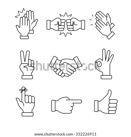 hand direction thin line vector icon stock photo © smoki