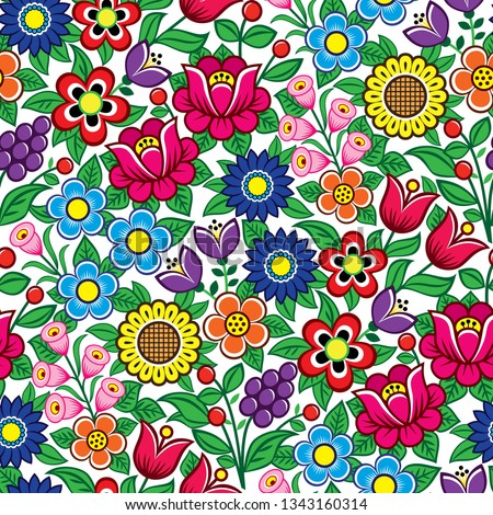 Seamless Polish folk art vector pattern - Zalipie traditional design with flowers and leaves 	 Stock photo © RedKoala