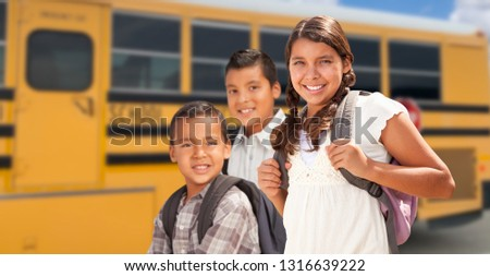 young female hispanic student with blank chalkboard near school stock photo © feverpitch