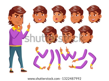 Arab, Muslim Teen Boy Vector. Teenager. Adult People. Casual. Face Emotions, Various Gestures. Anima Stock photo © pikepicture