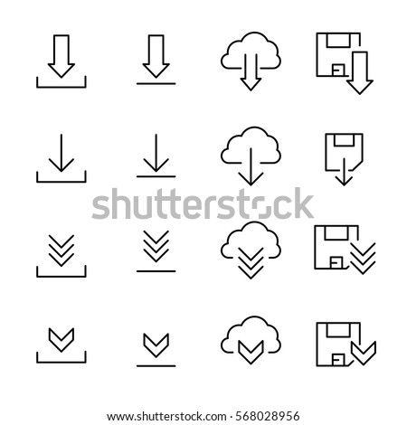 download cloud outline icon linear style sign for mobile concept and web design cloud computing ar stock photo © kyryloff
