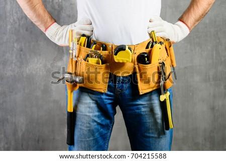 инструментом · пояса · серый · человека · строительство - Сток-фото © kurhan
