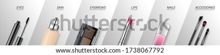 Makeup Brush Packaging Design Vector. Beauty Tools. Cosmetic Background. Eye Beauty. Professional Ob Stock photo © pikepicture