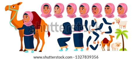 Arab, Muslim Teen Girl Vector. Teenager. Positive Person. Face. Children. Face Emotions, Various Ges Stock photo © pikepicture