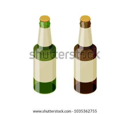 vektor · sörösüveg · ikon · részletes · barna · üveg - stock fotó © pikepicture