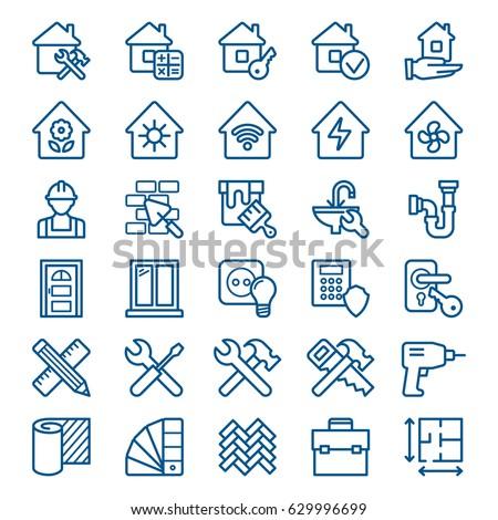 Szett épület építkezés otthon javítás ikon szett Stock fotó © nosik