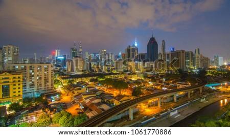malaysia kuala lumpur   april 2018 kl modern city skyline with patronas twin towers landmark stock photo © galitskaya