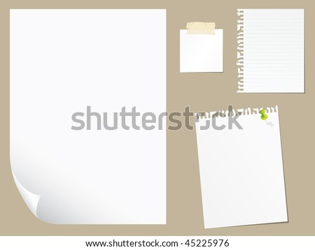 Blank A4 sheet of red paper with curled corner and shadow, template for your design. Set. Vector ill Stock photo © olehsvetiukha