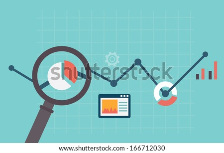Vector flat concept of process social media business and marketing. Startup, business planning and r Stock photo © makyzz