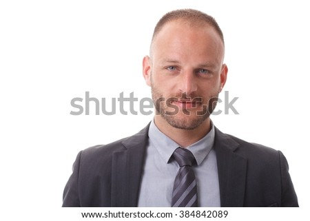 closeup photo of european handsome man 30s in formal suit using stock photo © deandrobot