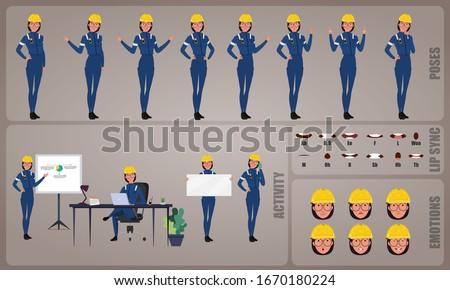 inşaat · kadın · işçi · karakter · vektör · dizayn - stok fotoğraf © bonnie_cocos