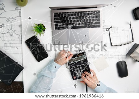 Working business woman  with worldwide reports  links and statis Stock photo © ra2studio