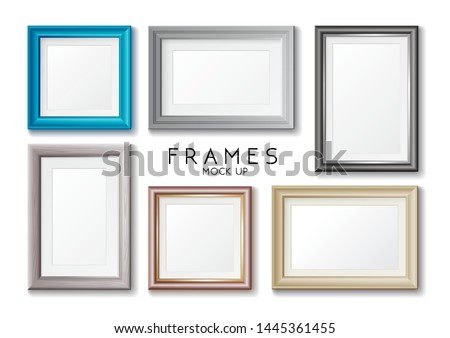 Realistic rectangular gold and blue frames set template, frames on the wall mockup with decorative b Stock photo © MarySan