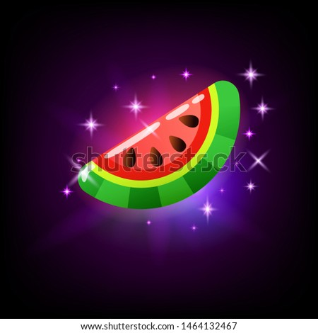 Slice of sweet ripe pink glossy watermelon, slot icon for online casino or logo for mobile game on d Stock photo © MarySan