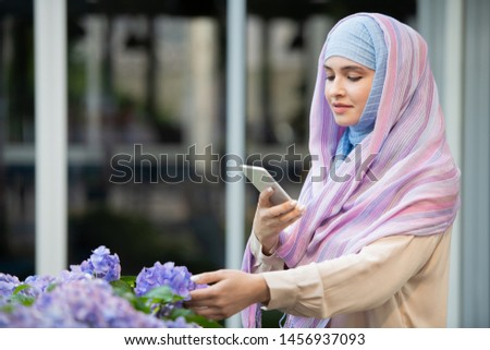 Young Arabian female in hijab photographing nice blue hydrangea Stock photo © pressmaster