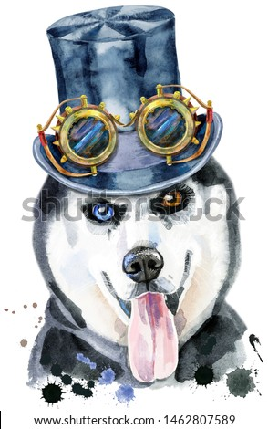 Watercolor portrait of husky with black hat topper and steampunk glasses Stock photo © Natalia_1947