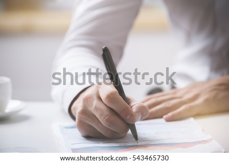 Closeup of businessman applicant writing application form, perso Stock photo © Freedomz