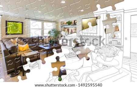 パズルのピース 一緒に 完成した リビングルーム ビルド 図面 ストックフォト © feverpitch