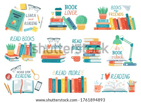 Colorful open and closed books icon set, hobby, reading and education, cups with coffee or tea, glas Stock photo © MarySan