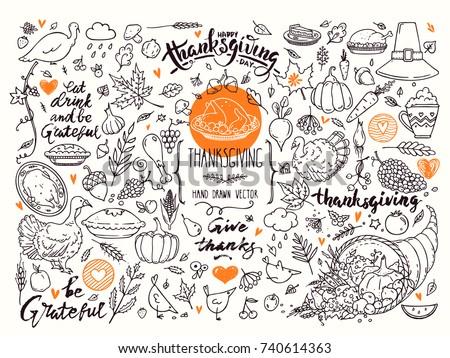 Happy Thanksgiving dinner menu line art Vector. Turkey and veggies detailed illustrations Stock photo © frimufilms
