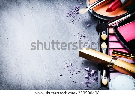 Eyeshadow palette and make-up brush on red background, eye shado Stock photo © Anneleven