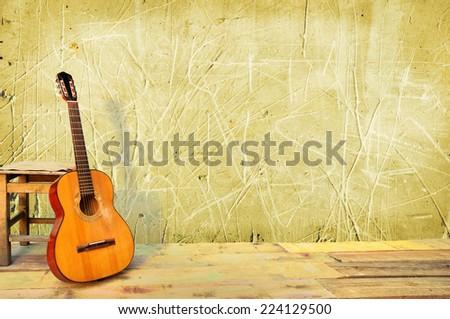 Akusztikus fehér gitár dől fal üres Stock fotó © dashapetrenko