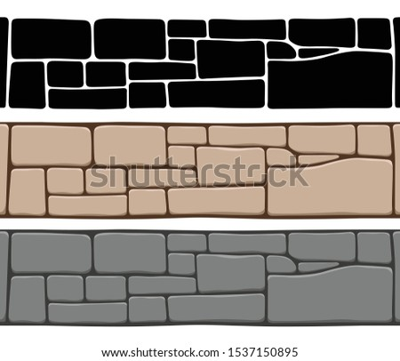 Set of 3 kinds of seamless stone wall textures, isolated on whit Stock photo © ColorHaze
