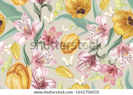 Happy Valentines Day. Background with lily flower, pastel colors. Handwritten calligraphic text lett Stock photo © ikopylov
