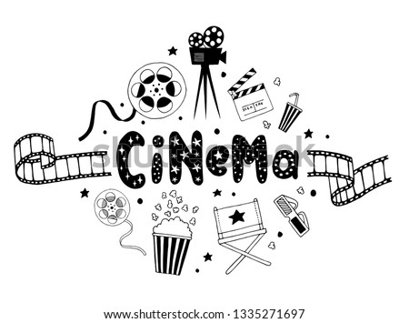 Cartoon vector doodles Cinema illustration. Movie funny picture Stock photo © balabolka