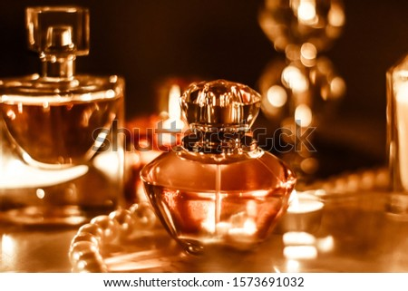 Stock photo: Perfume bottles and vintage fragrance at night, aroma scent, fra