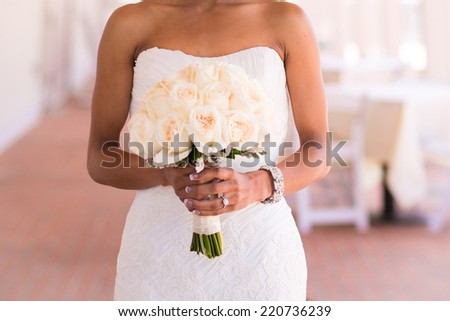 happy african american woman with bunch of flowers Stock photo © dolgachov