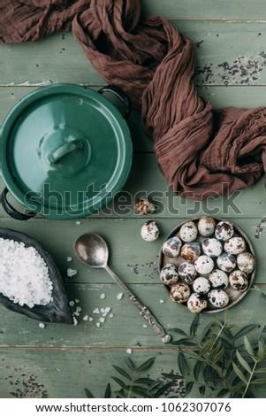 Yumurta yuva siyah rustik ahşap Paskalya Stok fotoğraf © dash