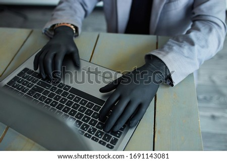 Homme travail maison portable noir Photo stock © Illia