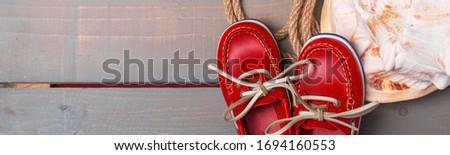Banner rot Boot Schuhe groß Shell Stock foto © Illia