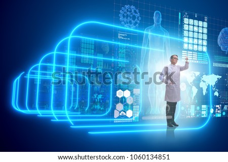 Telemedicine concept with doctor pressing virtual buttons Stock photo © Elnur