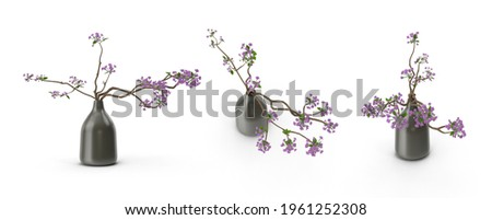 Spring card with close-up ceramic vase and blooming cherry twig. Stock photo © artjazz