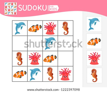 Sudoku game for children with pictures. Kids activity sheet. Cartoon fruits. Stock photo © natali_brill