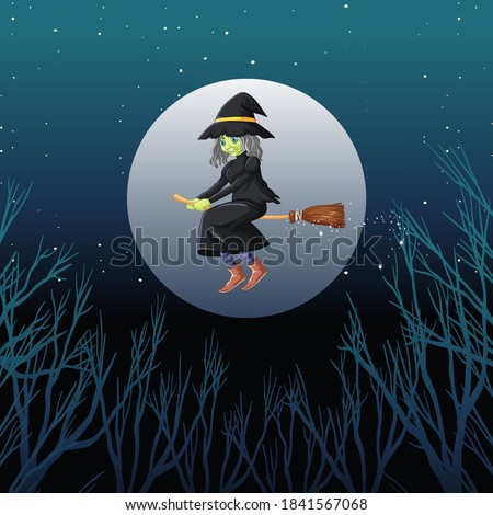 Witch or wizard riding broomstick the sky isolated on sky backgr Stock photo © bluering