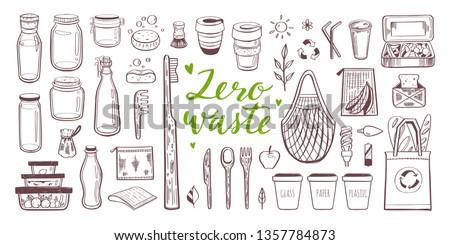 Zestaw zero odpadów elementy bazgroły nie Zdjęcia stock © robuart