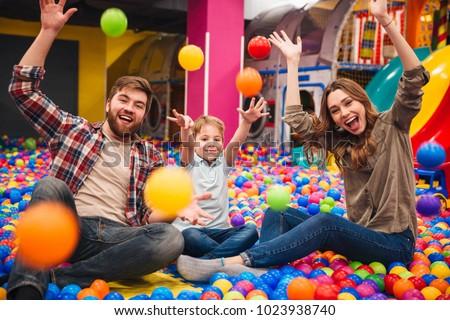 The boy has fun in an indoor playground Stock photo © galitskaya