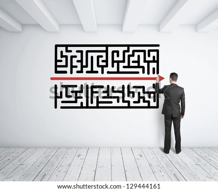 businessman drawing maze Stock photo © ra2studio
