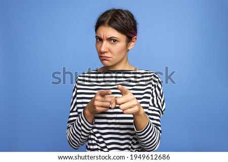 Angry Caucasian Woman Holding Sign Grimacing and Pointing White  Stock photo © Qingwa