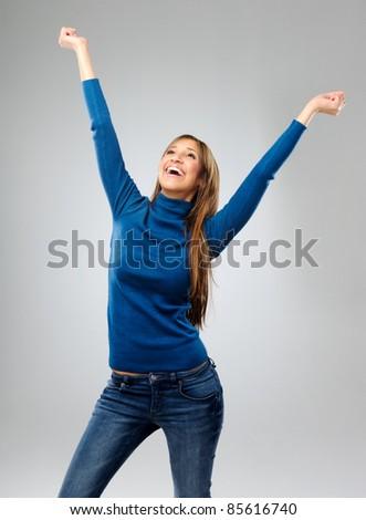 魅力のある女性 腕 お祝い 良いニュース 小さな 成功 ストックフォト © grafvision