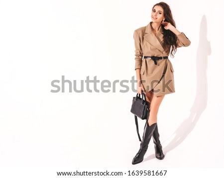 17 · brunette · zwarte · top · trainers · meisje - stockfoto © aikon