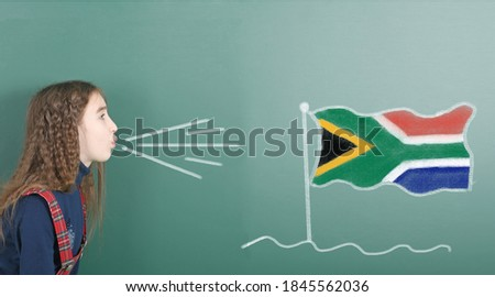 national flag of south africa on blackboard painted with chalk Stock photo © vepar5