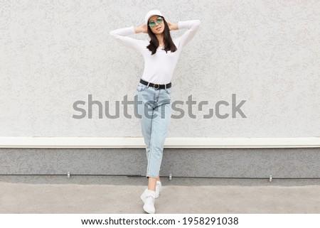 portre · siluet · güzel · genç · kadın - stok fotoğraf © pawelsierakowski